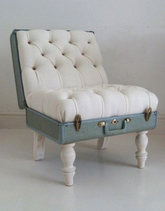 Upcycled suitcase armchair. | Upcycled Chairs | Pinterest