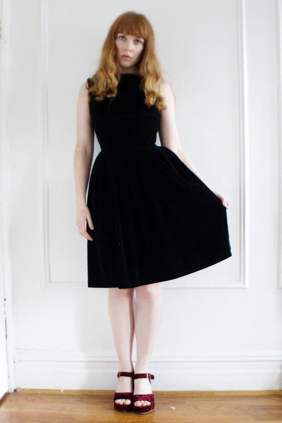 Black Velvet Cocktail Dress S/M Holiday by TheLovedOneOnline