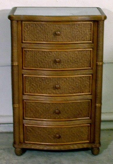 Bombay 5 Drawer Wicker Dresser Wicker Bedroom Furniture