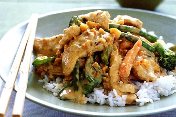 Thai red curry chicken & vegetable stir-fry #asian #food #recipe # ...