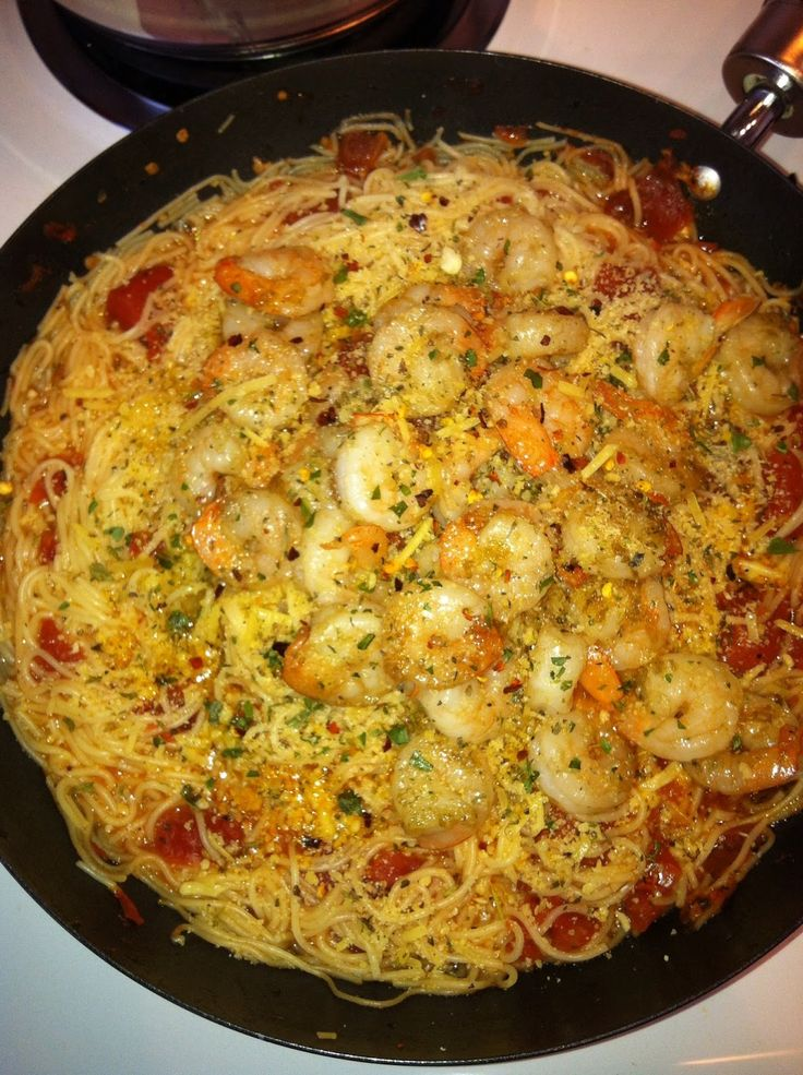 ... ...and it's so easy!! Angel Hair with Shrimp in a Light Tomato Sauce