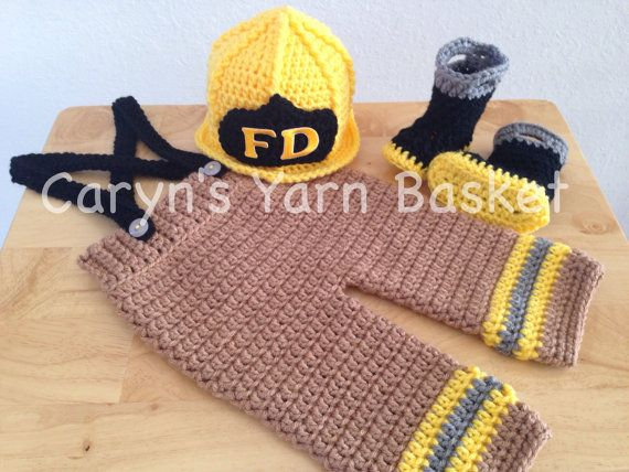 Crochet Pattern For Baby Fireman Hat : CROCHET PATTERN, 6 Month Size, Baby Firefighter Fireman ...