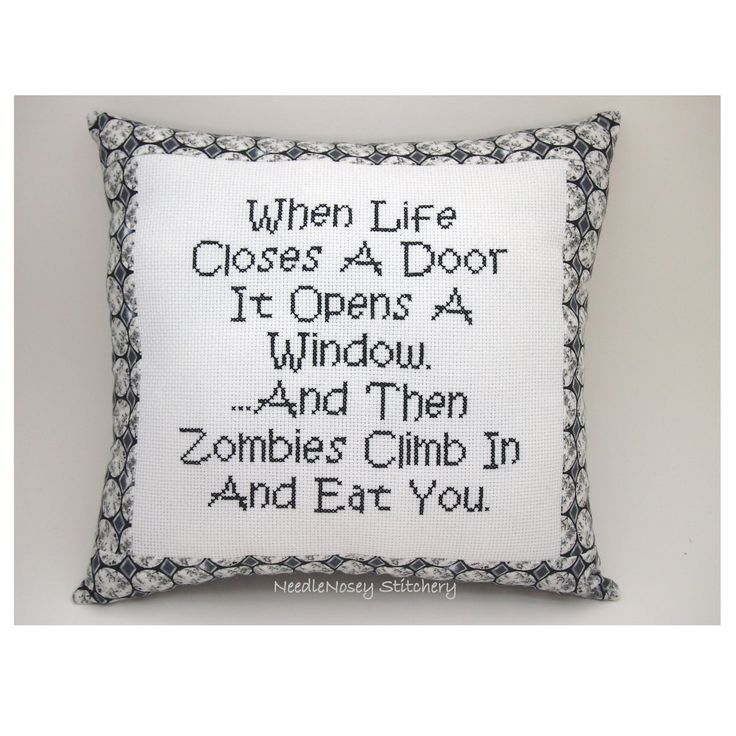 Quotes About Zombie Love : Funny Quote, Black and White Pillow, Zombie Quote. USD20.00, via Etsy ...
