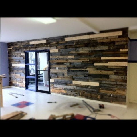 Reclaimed pallet wood wall home walls pinterest for Reclaimed pallet wood wall