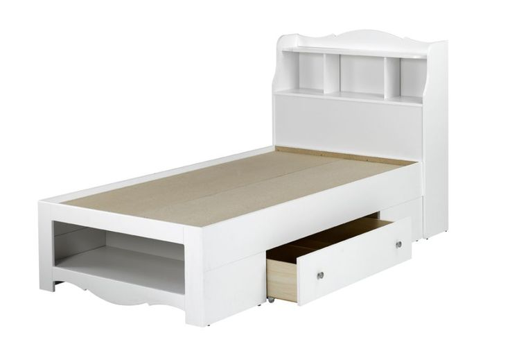 Nexera dixie twin size bed with bookcase headboard in white
