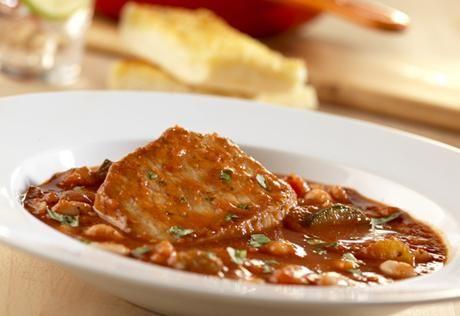 Tomato & Onion Pork Chops with Cannellini Beans | Recipe