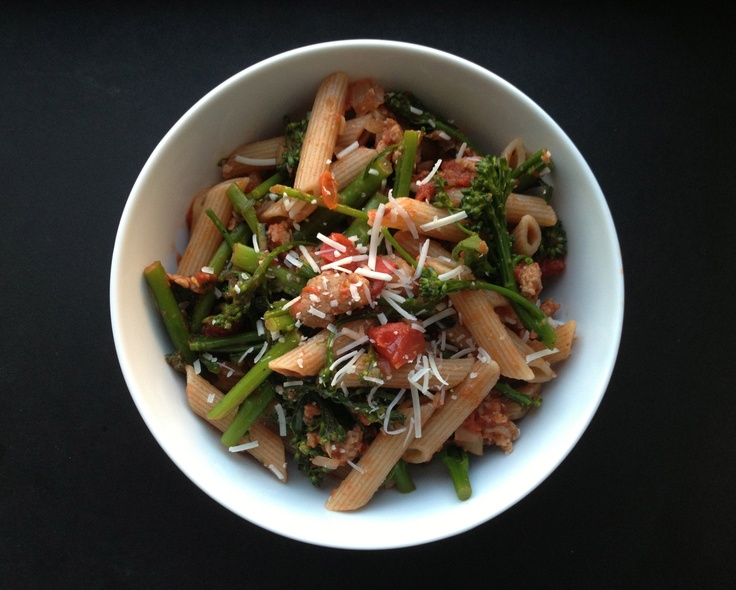 Whole wheat penne with turkey sausage and broccoli rabe. Healthy ...