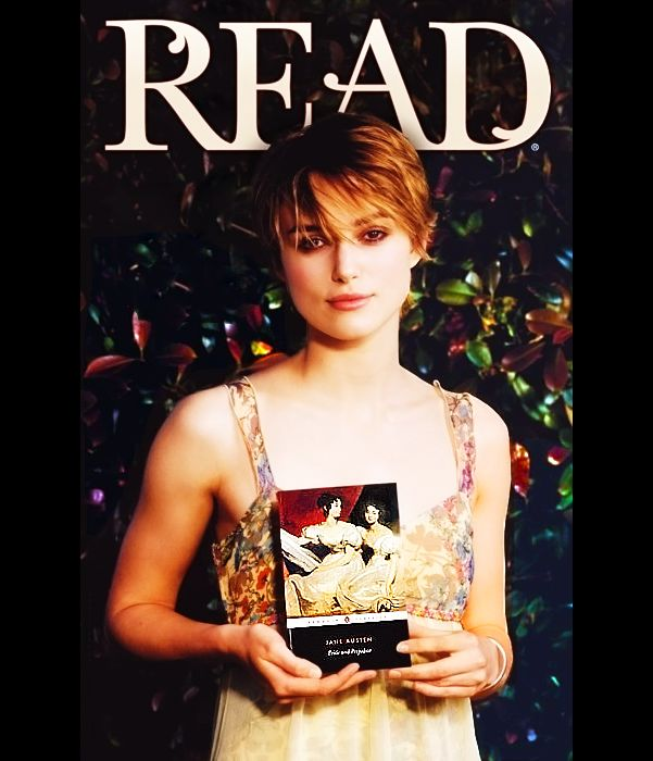 """Keira Knightley, holding (most appropriately), """"Pride and Prejudice"""""""