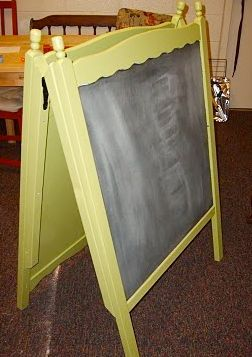 Turn the baby crib into a chalk board, other side can be for dry erase markers.