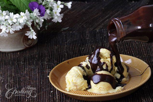 Hot Chocolate Fudge Sauce and vanilla ice-cream