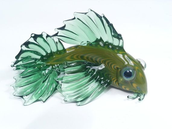 Glass koi fish green and yellow ready to ship for Green koi fish