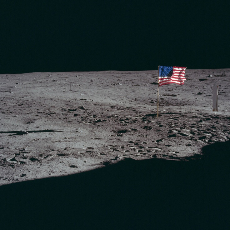 the flag on the moon
