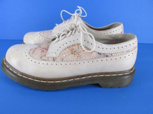Sz 10 US Crackle Floral Beige Leather Wingtip Womens Shoes | eBay
