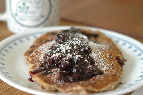 Whole Wheat Pancakes with Blueberry Topping #vegan