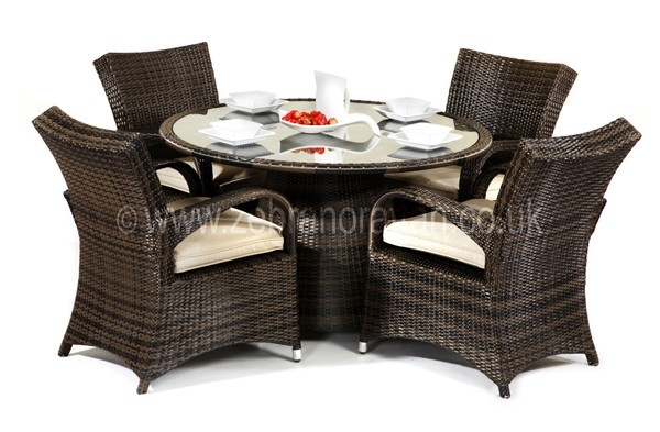 Bilbao Round Outdoor Rattan Table And 4 Chairs