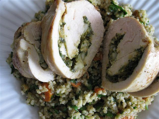 Golden Raisin Chermoula Chicken with Bulgur Pilaf