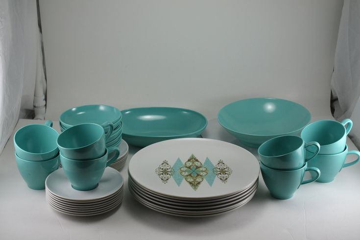 Vintage 1960s Aqua Turquoise Melmac Dinnerware Set Prolon Leonora 43 Pieces. $75.00, via Etsy.