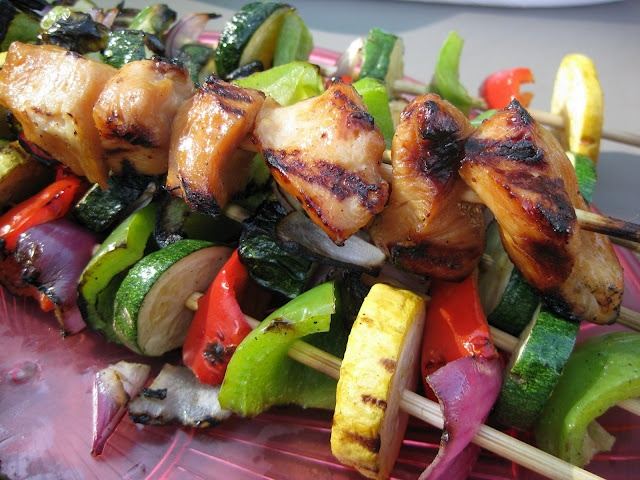 Yummy Honey Chicken, Shrimp, and Vegetable Kabobs