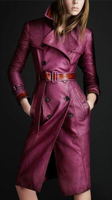 purple leather coat