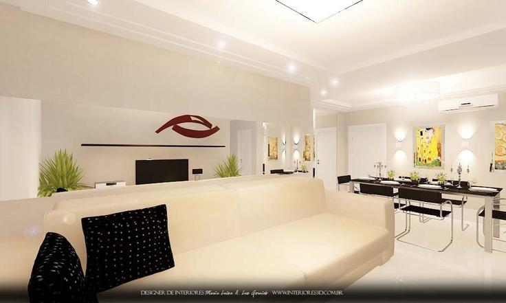 projeto decoração de interiores sala de estar e jantar moderna