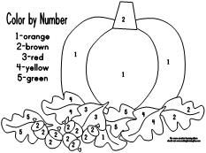 Fall Pumpkin Leaves Color By Number Clip Art Color By Number Pumpkin