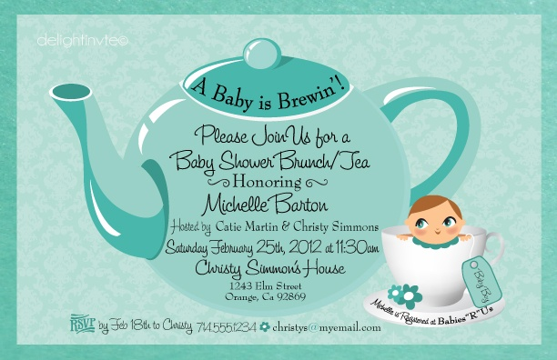 tea party baby shower boy invitation di 4511 custom invitations