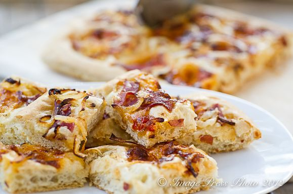 Southern style focaccia with caramelized Vidalia onions, country ham ...