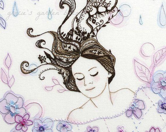 Sleeping+Beauty+Giclee+Print+Embroidery+by+graciesgardenbazaar,+£12.50