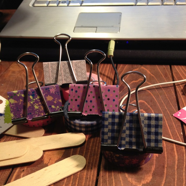 Decorated my binder clips with washi tape. Cute!
