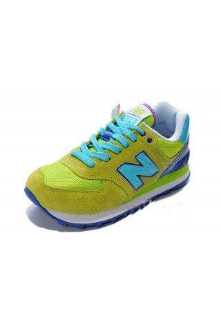 New Balance Women Running Shoes NB574 Retro Green Blue Purple