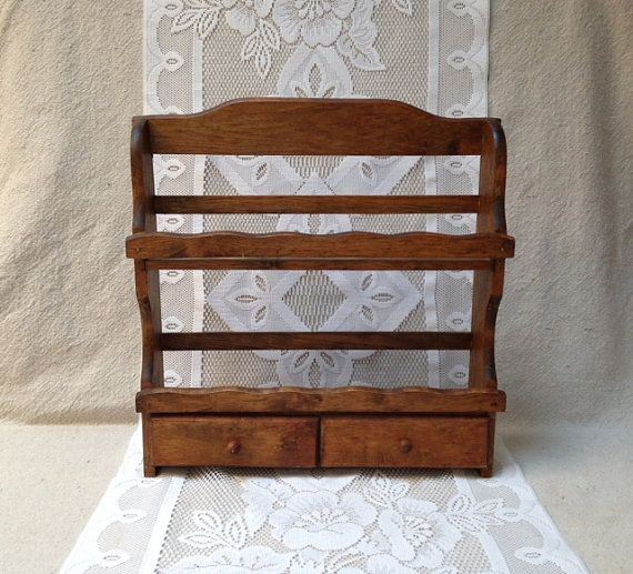 Kitchen racks hanging - Wooden Spice Rack With Drawers Kitchen Wall Hanging On Etsy 26 00
