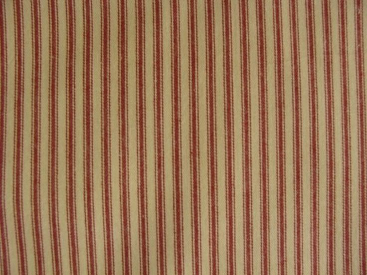 Primitive Country Barn Red And Tan Ticking Fabric Shower
