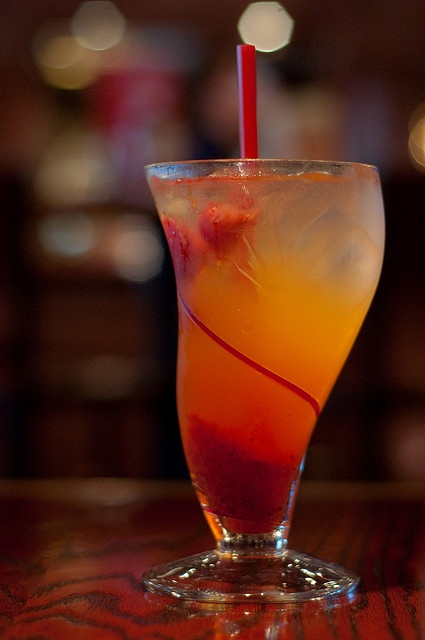 Red Robin's Freckled Lemonade (alcohol free). So Yummy!!  Easy to make - regular lemonade with thawed strawberries & their syrup.