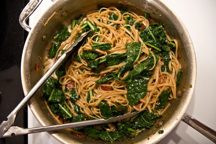 Spaghetti Carbonara with Garlicky Greens | The Yellow Table | Dinner ...