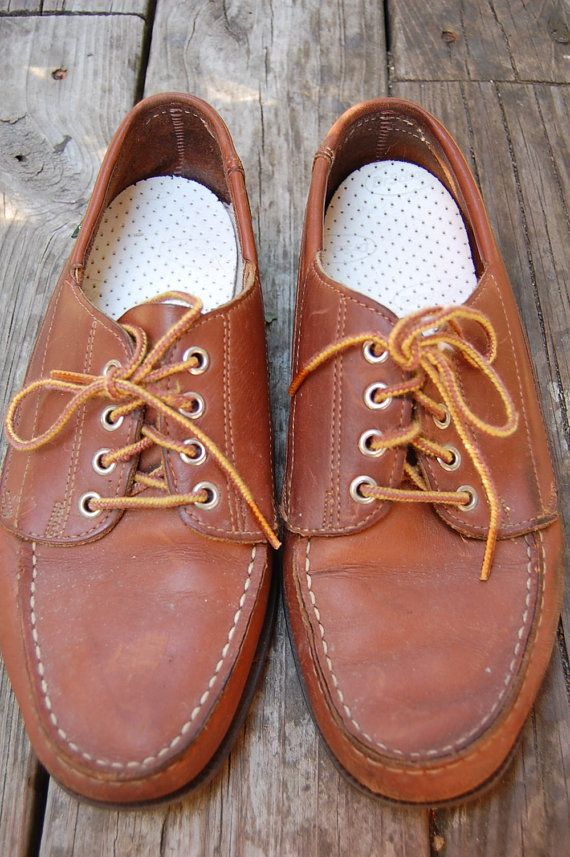 Vintage Preppy 80s Eastland Lace Up Topsiders Mens Shoes by