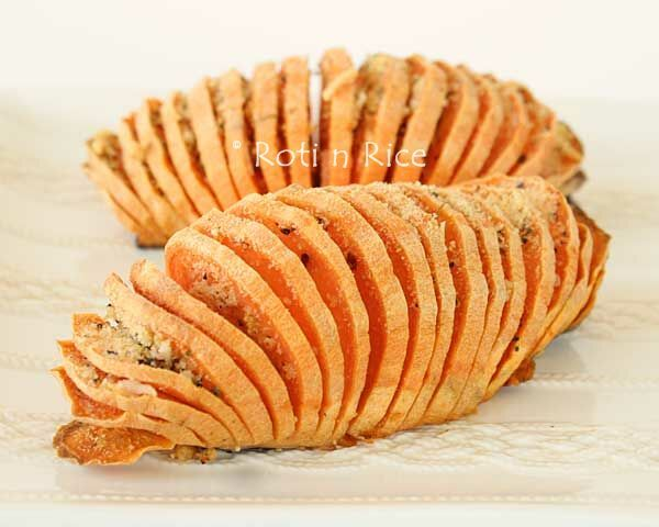 Simple yet elegant Hasselback Sweet Potatoes with sweet and savory ...