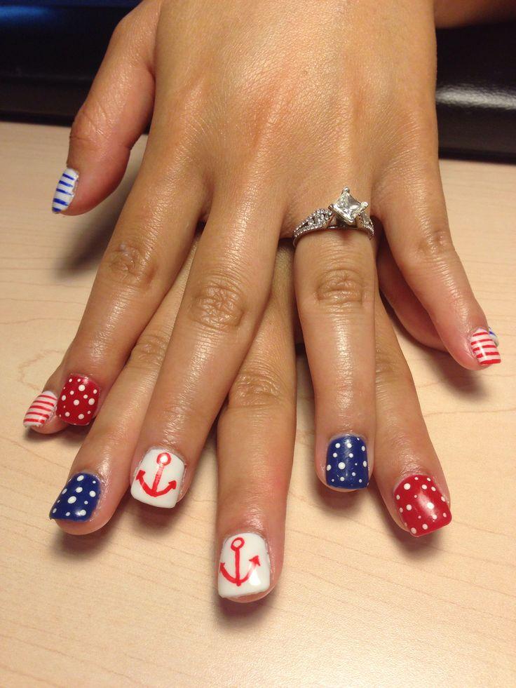 Polished Pinkies Utah: red white and blue nautical nails, stripes