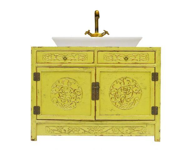 Mueble Baño Amarillo:mueble provenzal baño madera amarillo tallado BAN110