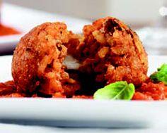 suppli al telefono .... italian rice balls stuffed w/mozzarella served ...