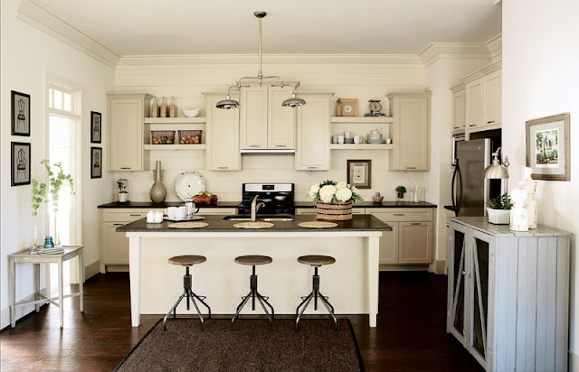 white wall, taupe cabinets  Kitchens  Pinterest