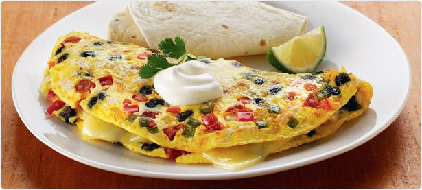 Monterey Chicken omelet with peppers, tomato, black beans, Monterey ...