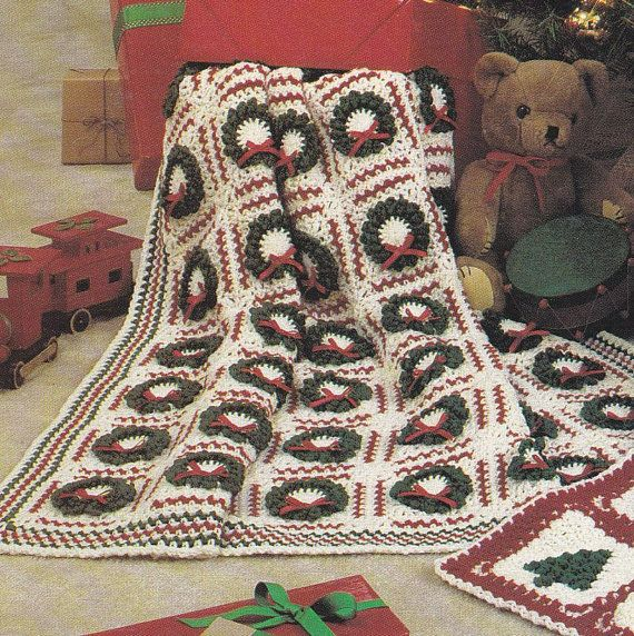 Christmas Afghan Knitting Patterns : Christmas Afghan Crochet Patterns - Tree, Wreath Designs