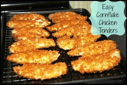cornflake chicken tenders bread, freeze on cookie sheet then store in ...