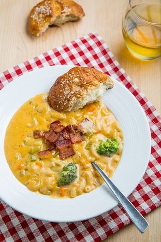 Beer Mac n Cheese Soup with Pretzel Rolls