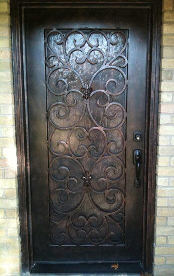 Pin by cheryl redden on diy home decor pinterest for Wrought iron front doors