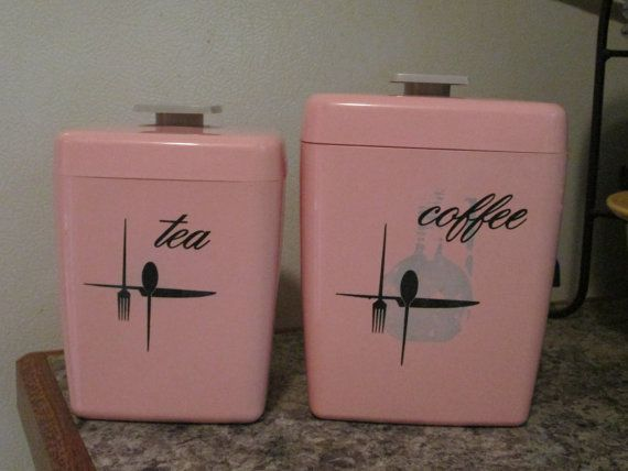 Vintage Mid Century Pink Tea And Coffee Canisters