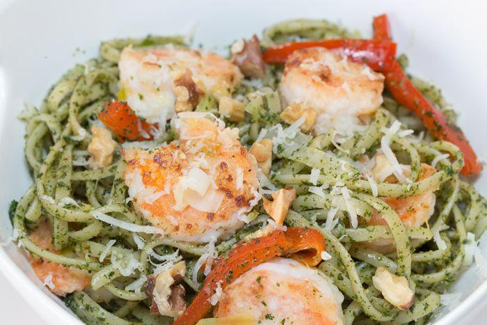 Kale and Walnut Pesto Pasta with Lemon Shrimp