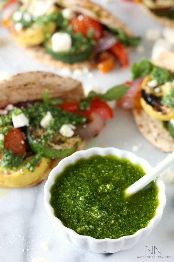 Grilled Vegetable Gyros with Arugula Mint Pesto via Nutmeg Nanny