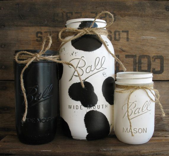 Set Of 3 Painted Mason Jars Rustic Country Cow Print Kitchen Decor