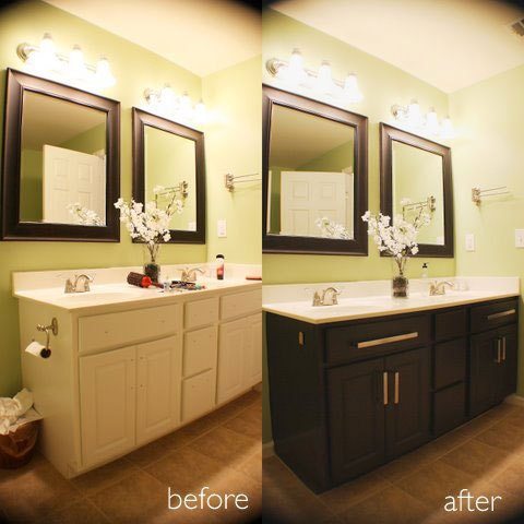 Give white mdf cabinets a realistic wood look with paint k f d des - Painting bathroom cabinets brown ...